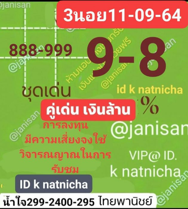 แนวทางหวยฮานอย11-9-64-วันนี้.com15